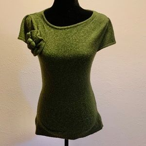 Anthropologie Green Cap Sleeve Sweater